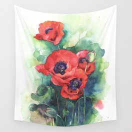 Watercolor red poppy flowers Wall Tapestry