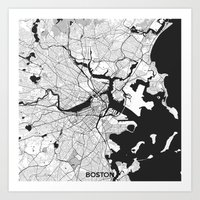 boston map Art Prints featuring Boston Map Gray by City Art Posters