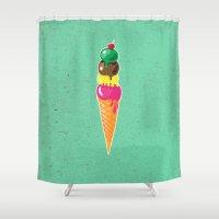 ice cream Shower Curtains featuring Ice cream by Tony Vazquez