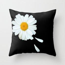 Love Me - Love Me Not - White Daisy on Black Background #decor #society6 #buyart Throw Pillow