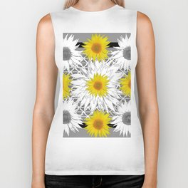 Decorative B&W Yellow-White Sunflowers Biker Tank