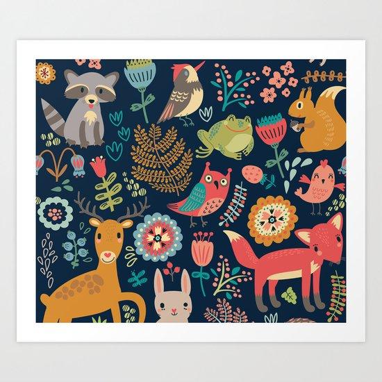 Forest friends - navy Art Print