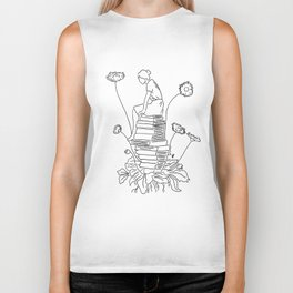literature makes me bloom Biker Tank