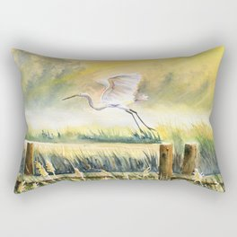 Egret Flying Over Marsh  Rectangular Pillow