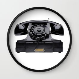 Old black telephone, middle of 20th century, aged and scuffed Wall Clock