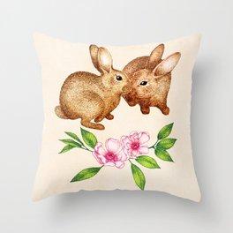 Vintage Rabbit Pair in Spring Throw Pillow