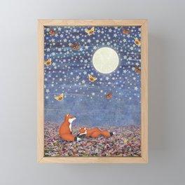 moonlit foxes Framed Mini Art Print