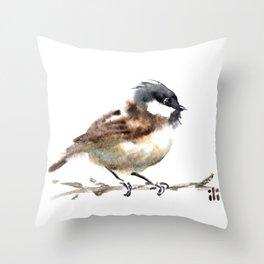 Watercolour Cute Sparrow Bird by ili Throw Pillow