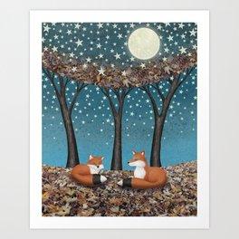 starlit foxes Art Print