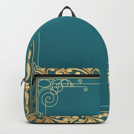 teal and gold belle époque pattern Backpack