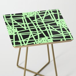 Black and neon green modern abstract pattern Side Table