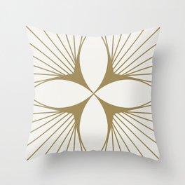 Diamond Series Floral Diamond Gold on White Throw Pillow
