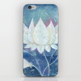 Abstract Lotus Art Acrylic Painting Reproduction by Kimberly Schulz iPhone Skin