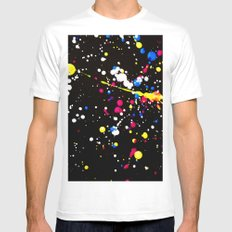 Neon Paint Splats and Spots on Black Mens Fitted Tee White MEDIUM