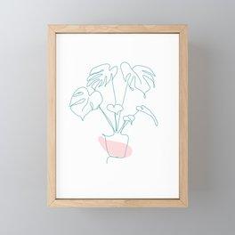 Minimal Monstera Framed Mini Art Print