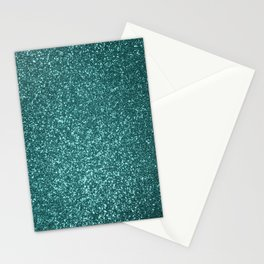 Sparkly Aqua Blue Turquoise Glitter Stationery Cards