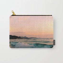 Beautiful Pink Blush, Sunset Sea Ocean Waves Carry-All Pouch