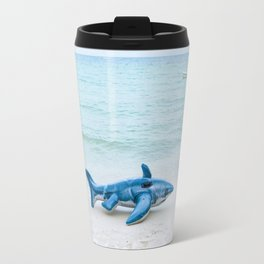 inflatable shark fish on beach Travel Mug
