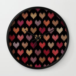 Colorful Knitted Hearts VII Wall Clock
