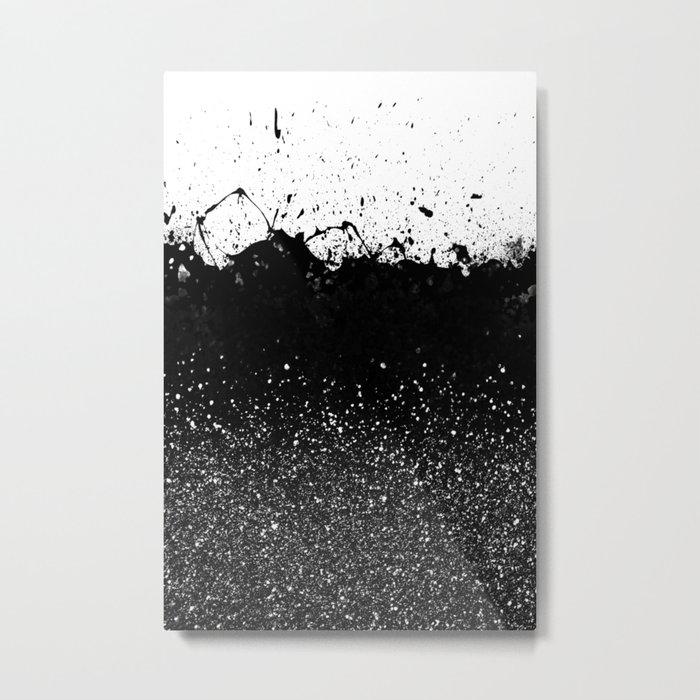 Black and White Splatter Theme Metal Print