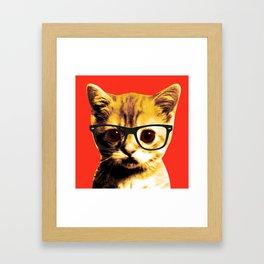 Pop Art Kitten with Glasses 3# Framed Art Print