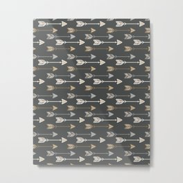 Neutral Tribal Arrows Pattern - Brown Gray Metal Print