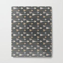 Neutral Tribal Arrows Pattern - Brown Gray Metal Print