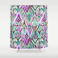 fringe Shower Curtains featuring Fringe Ikat Tribal by Barbarian // Barbra Ignatiev