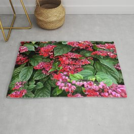 mixed flowers and leaves Rug