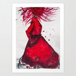 Red Women's Fashion Illustration Art Print