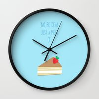 wallet Wall Clocks featuring 'Just piece of cake!' by aPersonalidea