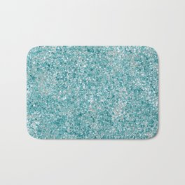 Splatter painting in Aqua, Tan and White Bath Mat