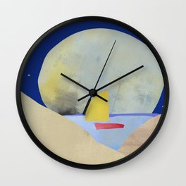 Large Full Moon Stars at Night and Sailboat Wall Clock