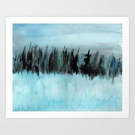 Dark Forest Across the Icy Lake Art Print