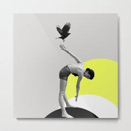 Woman and a Black Bird, Collage Art Metal Print