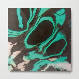 Abstract marble in green and black Metal Print
