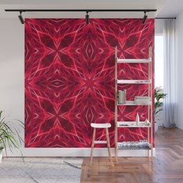 Abstract Geometric Light Factual Bright Red Wall Mural