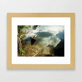 01 half boat + clouds Framed Art Print