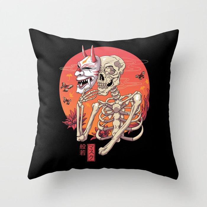 Hannya Spirit Mask Throw Pillow