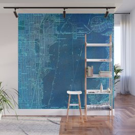 Miami Florida vintage map year 1950, blue usa maps Wall Mural