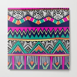 Multicolor tribal background with doodle elements Metal Print
