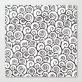 Modern Black and White Abstract Swirly Pattern Canvas Print