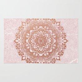 Mandala on concrete - rose gold Rug