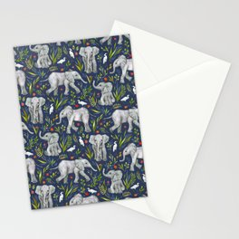 Baby Elephants and Egrets in Watercolor - navy blue Stationery Cards