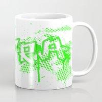 grafitti Mugs featuring extra splash green grafitti design by sleepwalkerMTS