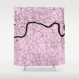 London Pink on Black Street Map Shower Curtain