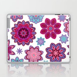 Flower retro pattern. Purple and blue flowers on white background. Laptop & iPad Skin