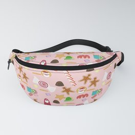 Christmas Sweeties Candies, Peppermints, Candy Canes and Chocolates on Pink Fanny Pack