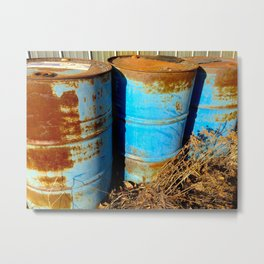 Rusty Barrels Metal Print