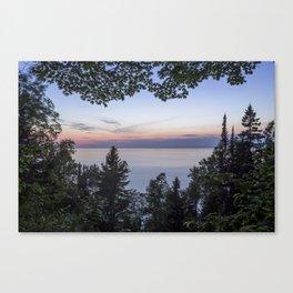 Tree Framed Lake Superior Twilight Canvas Print